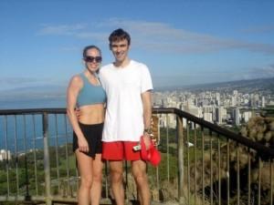 Runners on Diamond Head in Hawaii