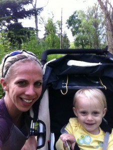 mom and daughter with jogging stroller