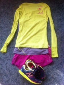 colored coordinated running clothes