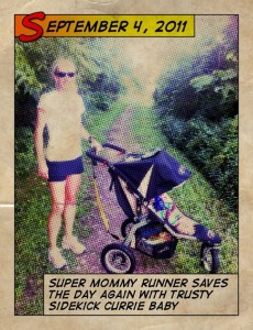 mom posing with jogging stroller