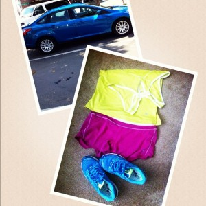 bright running clothes and car