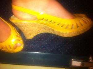 high heel yellow wedges