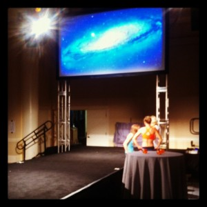 stage before Oiselle show rehearsal