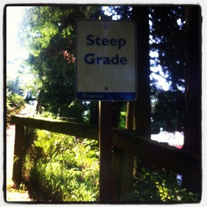 bridle trail, steep sign