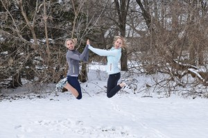 sisters wearing oiselle apparel