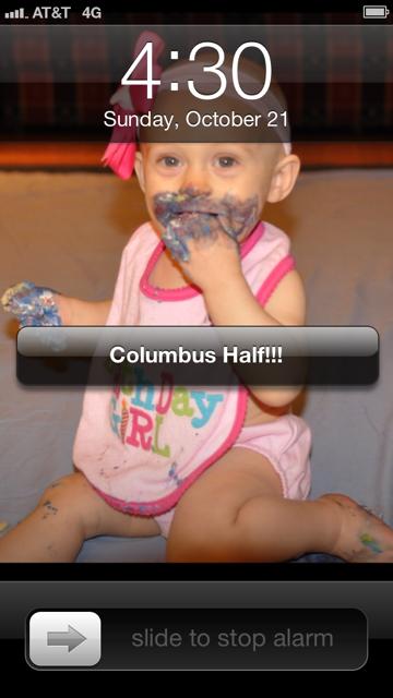 columbus half marathon alarm