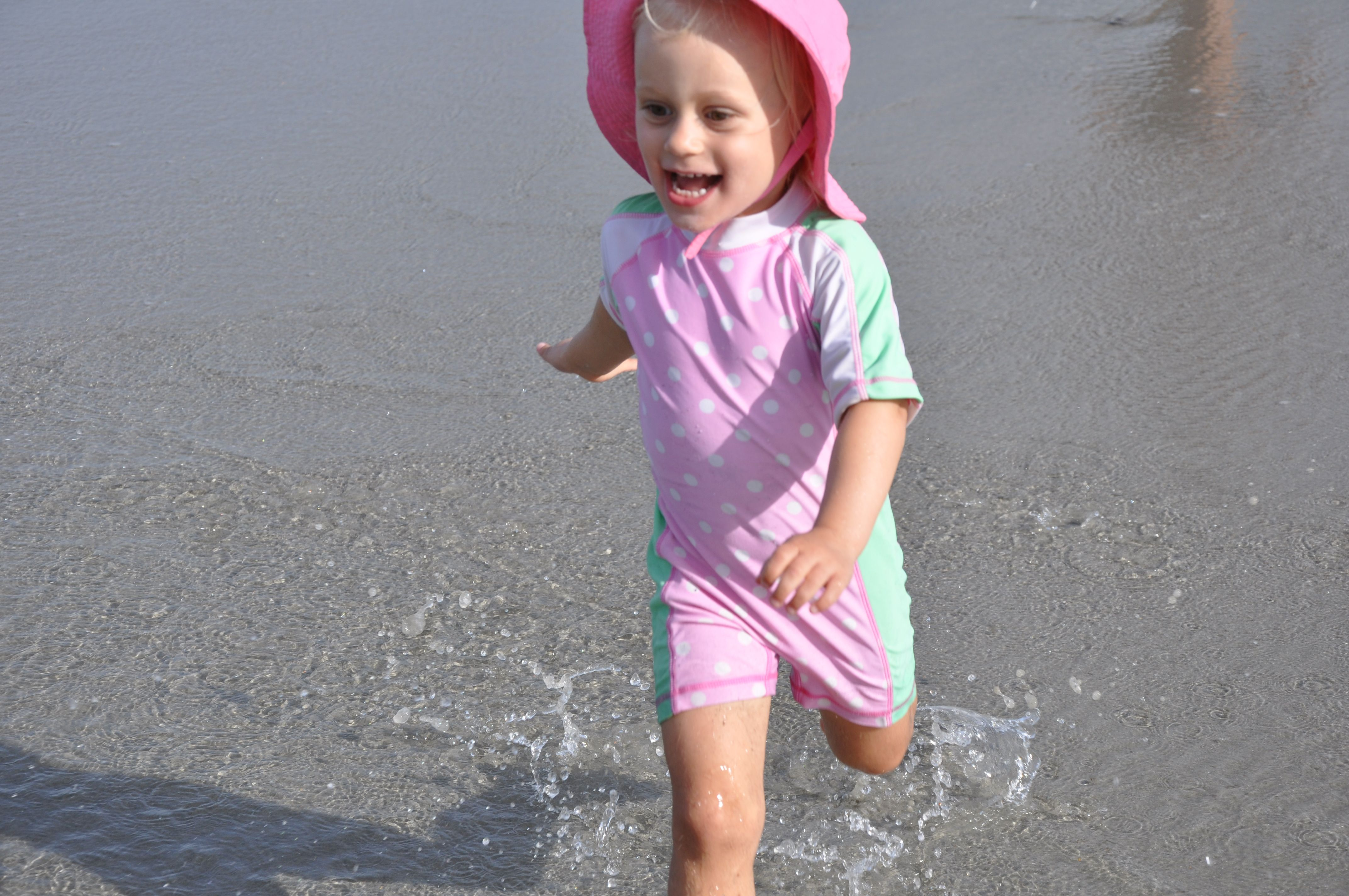 toddler running at myrtle beach