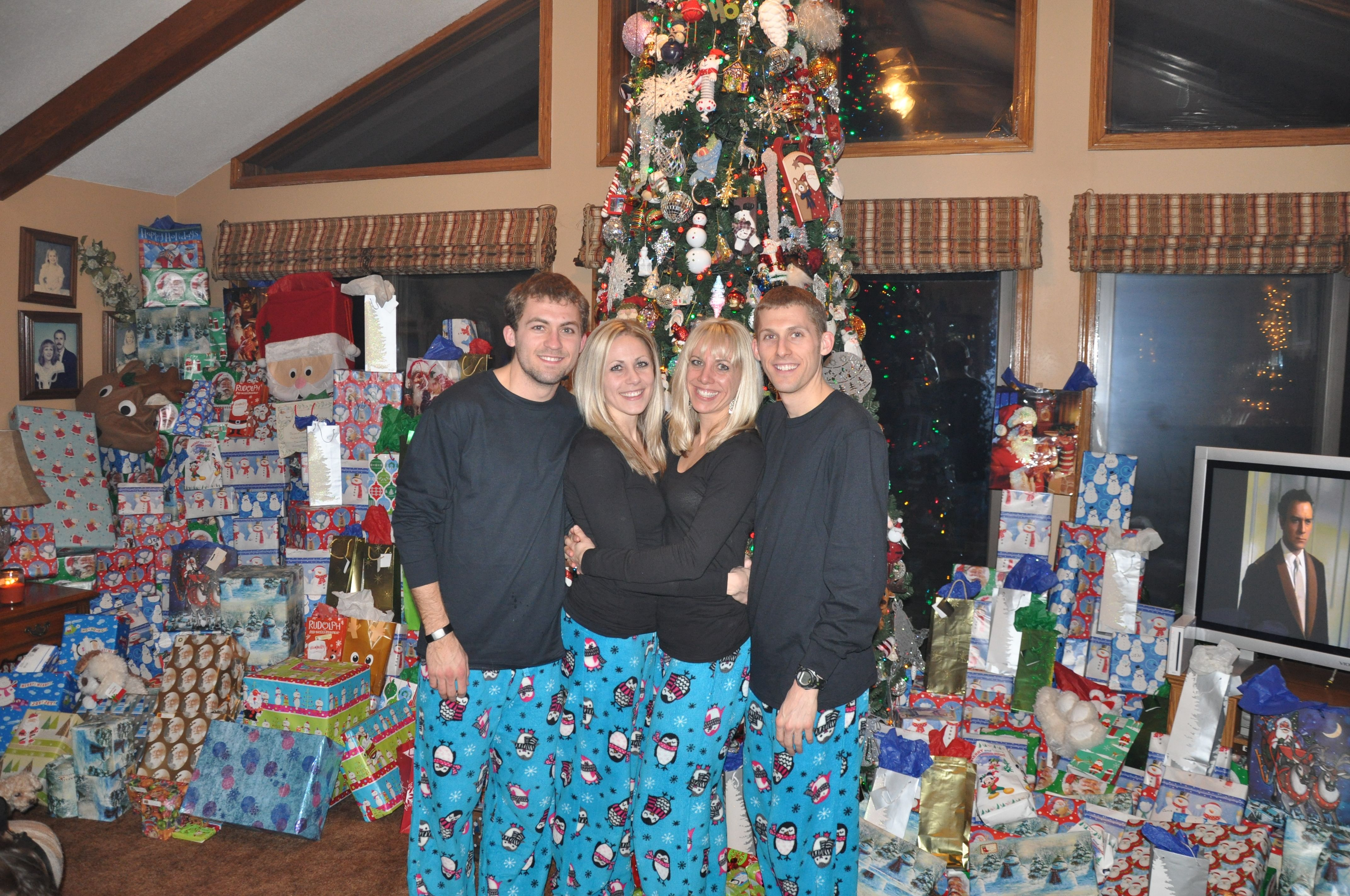 siblings in matching pajamas