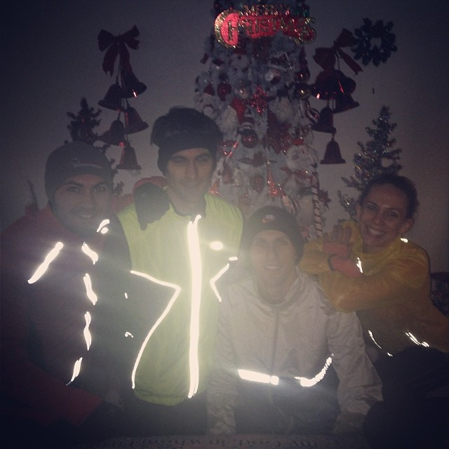 Our reflective gear ended up messing up this pic, but it was little bro Jason, husband Jeff, big bro Josh, then me before heading out on a run!