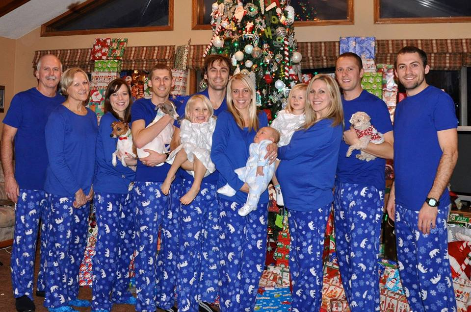this year was jeffs 10th christmas with our family and that meant his 10th pair of matching christmas jammies here is one from 8 years ago