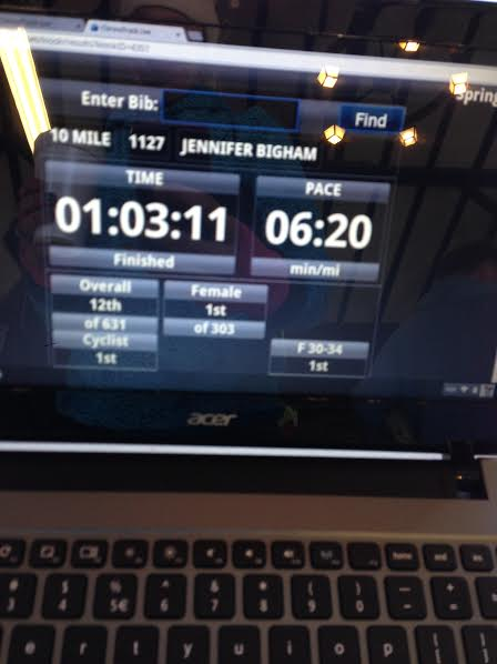 Took this pic after the race while waiting for awards. Pretty cool that they have computers showing real time results just waiting for the runners near the finish line!