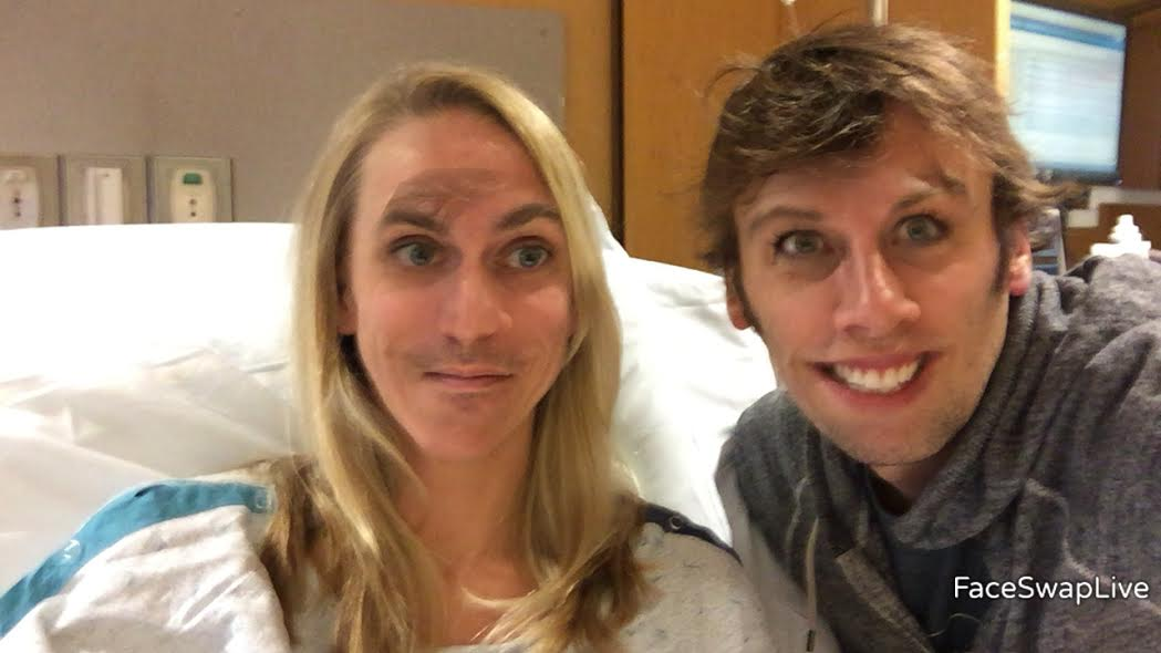 Face swapping with my husband to pass the time! HA!! :)