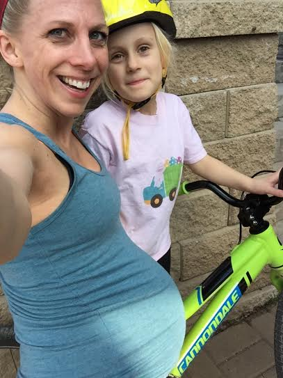 One of my last runs before Baby Ryles was born, added bonus of having my big girl on the bike.